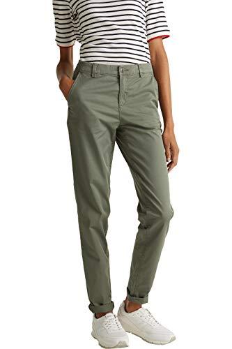 Esprit Pantalon, Vert (Khaki Green 350), 34/L32 (Taille Fabricant: 34/32) Femme