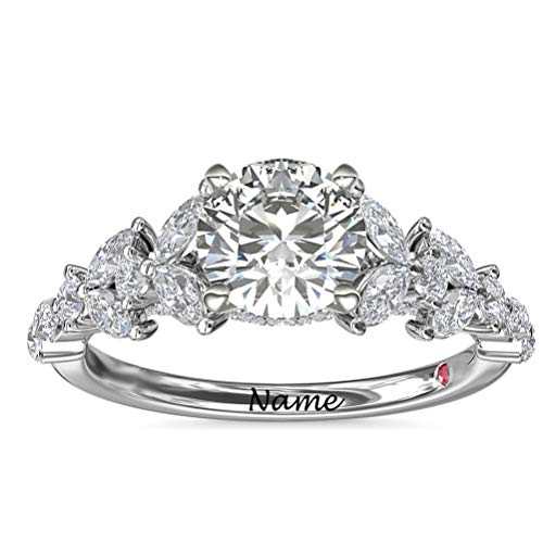 SISGEM 1.12ct Moissanite Engagement Ring, Moissanite Floral Solitaire Ring, 925 Sterling Silver Platinum Plated Personalised Ring, for Her Women Ladies Girlfriend Engagement (Size T)
