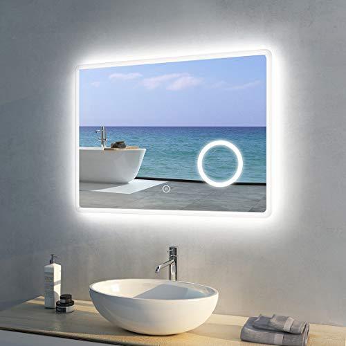 Meykoers LED Badspiegel Beleuchtung Spiegel 80x60cm mit 3-Fach Vergrößerung, Uhr und Sensor-Schalter Lichtspiegel Kaltweiß 6400K Energieklasse A++