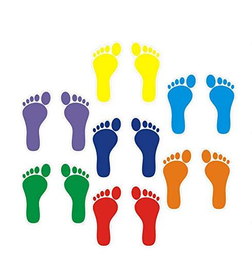 FixtureDisplays 42 Footprint Self Adhesive Sticker Film Laminated Easy Write Wall Floor Decor Craft Stairs Walk Footprint Social Distance Queline Floor Marker/Floor Sticker 15038