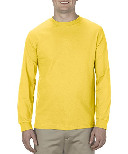 Alstyle Apparel AAA Men's Classic Cotton Long Sleeve T-shirt, Yellow, Large