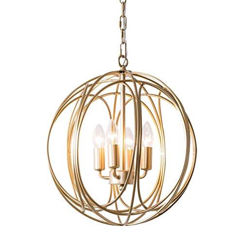 AB Decoratie kroonluchter, restaurant cafébar decoratie kroonluchter, wandlamp van smeedijzer, modern, chic, bol, ijzer, ketting, hanglamp in gouden afwerking