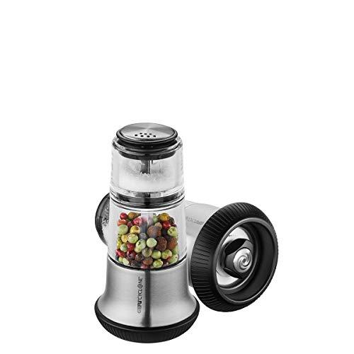 GEFU 34623 Pfeffermühle mit Salzsteuer X-PLOSION, Gewürzmühle für Pfeffer, Streuer aus Glas, Keramikmahlwerk, leer, schwarz/silber
