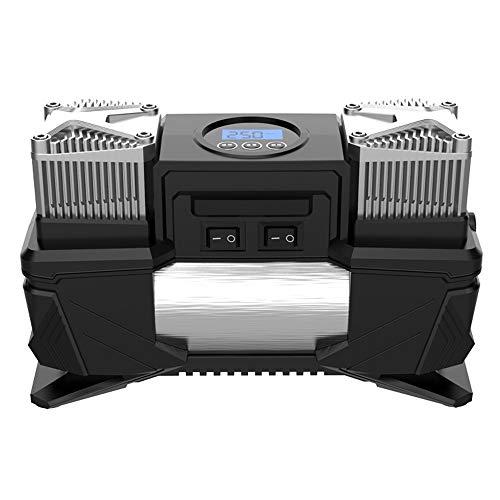 Nologo LH-DZ Digital-Gummireifen, bewegliche Luft Compressor Luftpumpe, Wege, Schraub- und Clip On Ventilsteckers, Extra-Düse-Adapter for Auto, Fahrrad, Motorrad-Kugel-Luftmatratze, Inflator