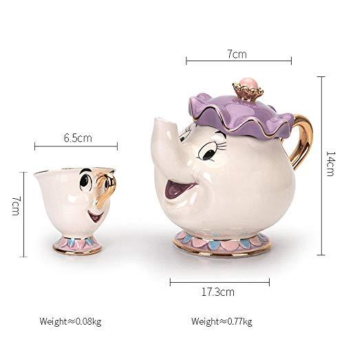 YXYLQ Cartoon Die Schöne Und Das Biest Teekanne Mrs Potts Becher Chip Chip Teekanne Set Porzellan Keramik Kaffeetasse Geschenk Zuckerdose Geschirr-DREI-Stück_Set_Cup_and_Pot