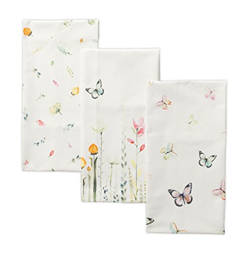 Maison d' Hermine Botanical Fresh 100% Cotton Set of 3 Kitchen Towels (20 Inch by 27.5 Inch) Oven Mitt (7.5 Inch by 13 Inch and Set of 2 Pot Holders (8 Inch by 8 Inch) Bundle Set Maine