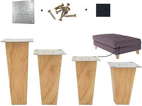 4 patas de madera para mesa de repuesto, patas de muebles de madera maciza con hoja de hierro y tornillos para sofá, cama, gabinete, sofá, otomano (5 cm)