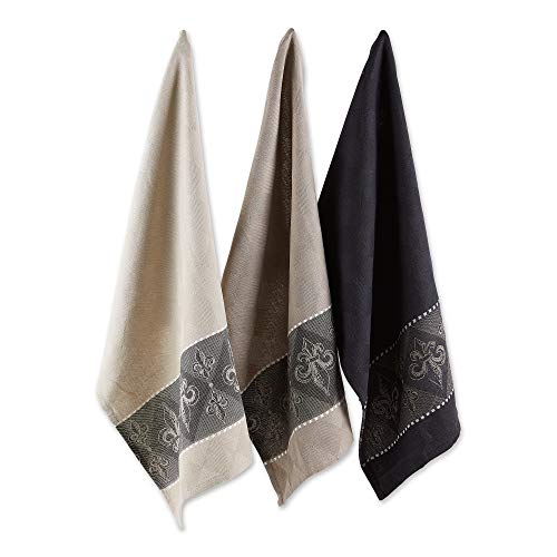 DII French Jacquard Kitchen Collection, Dish Towel Set, Fleur de Lis, 3 Count - CAMZ31958