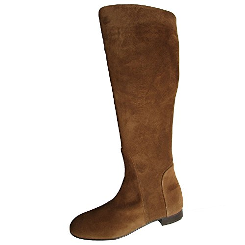 Delman Womens D-Molly Leather Riding Boot Shoe, Caramel Suede, US 10
