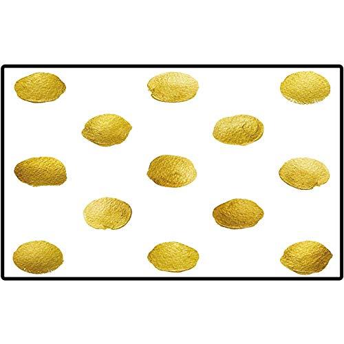 RenteriaDecor Funny Doormat Gold and White Ombre Polka Dots Circles Ancient Coins Inspired Brush Print Like Image Floor Mat Rug Indoor/Outdoor/Front Door/Bathroom Mats 57x24