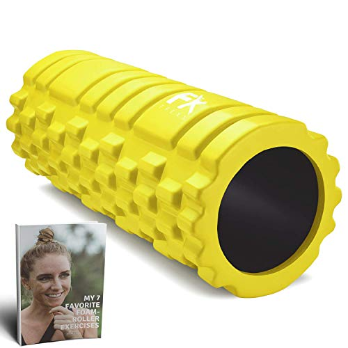 FFEXS Faszienrolle Rucken Schaumstoffrolle Fitness Sport Massagerolle Foam Roller (Gelb)
