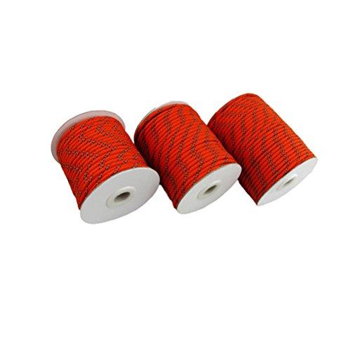 Pixnor Kordel für Vorzelt/Camping oder als Wäscheleine, 30°m, 5°mm, mit reflektierendem Band, Rot
