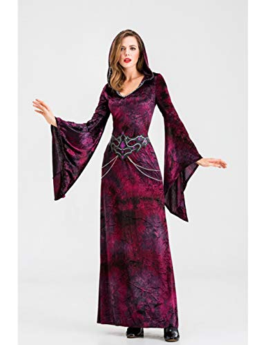 GBYAY Disfraces de Halloween Cosplay Disfraz de Bruja Aterrador para Mujer Disfraz de Fantasma de Disfraces Vestido Largo Elegante