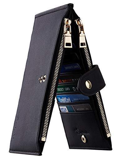 Travelambo Womens Walllet RFID Blocking Bifold Multi Card Case Wallet with Zipper Pocket Genuine Leather (Black)