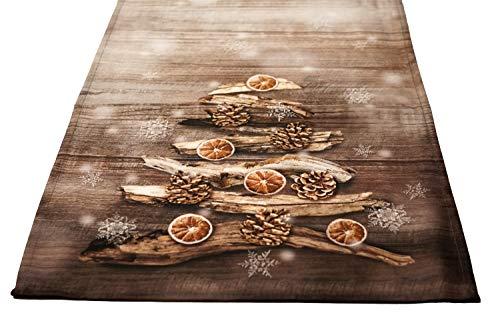 khevga Tischläufer Weihnachten Winter Weiß Gold Braun 140 x 40 cm (Hellbraun)