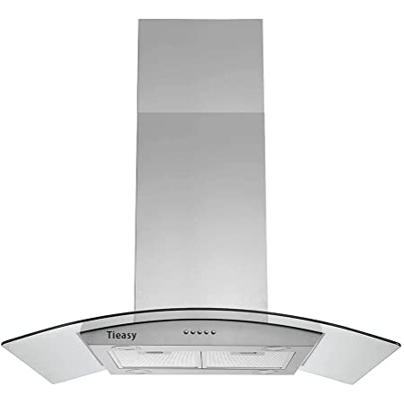 36 Inch Island Range Hood 700 Cfm Ceiling Mount Hood Stainless Steel Stove Vent Hood With Tempered Glass Push Button Controls Mesh Filters Appliances