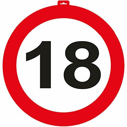 Carpeta® - Riesen Verkehrsschild * Zahl 18 * ┃ Ø 47,5cm ┃ Deko 18. Geburtstag ┃ Türschild und Straßenschild ┃ Mit & ohne Aufhänger ✔