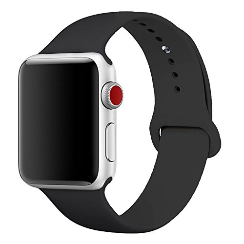[3 Pieces] Band for Apple Watch 38mm,JOKHANG Soft Silicone Sport Band [2 Lengths] Large/Small Wrist Strap Replacement for Apple Watch 2015 & 2016 & 2017 All Models 38mm - Black