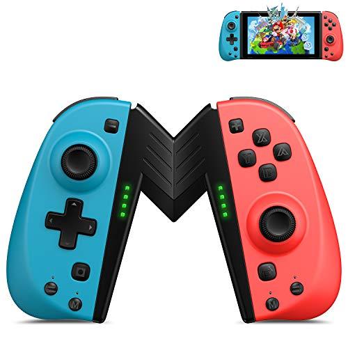 ECHTPower 2er-Set Wireless Controller für Nintendo Switch Joy-Con Neon Blau Neon Rot kabellos Joypads mit Grip programmierbarer Turbo Controller mit Dualmotor Bewegungssensor für Nintendo joycon