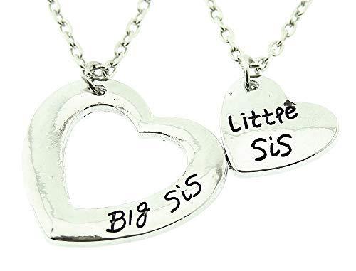 Dos collares para mujer – Big Sis – Chica – Little Sis – Corazones – hermana mayor – Familia – Color plata – Navidad – Cumpleaños – Idea regalo – Bisutería – Joyas – Menor