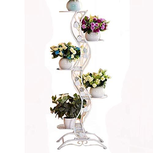 ZWJhj Support de Fleurs, Support de Plante en Fer de Style européen Simple, Support de Fleurs au Sol à 5 Couches, pour présentoirs intérieurs et extérieurs (Couleur : Blanc)