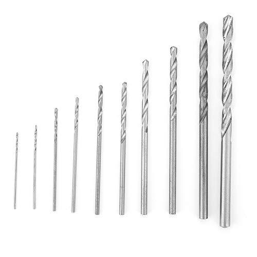 Twist Drill Bits, Metal Drill Bits for Steel, 10PCS Durable High Speed Steel Straight Shank 0.5-3mm Twist Drill Bits Drilling Tools
