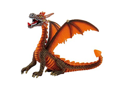 Bullyland 75595 - Spielfigur, Drache sitzend orange, ca. 11 cm groß, liebevoll handbemalte Figur, PVC-frei, tolles Geschenk für Jungen und Mädchen zum fantasievollen Spielen