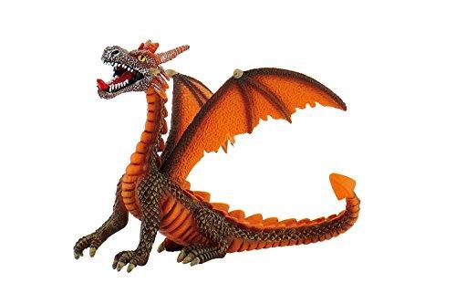 Bullyland 75595 Speelfiguur, draak zittend oranje, ca. 11 cm groot, liefdevol met de hand geschilderd figuur, PVC-vrij, leuk cadeau voor jongens en meisjes om fantasierijk te spelen.