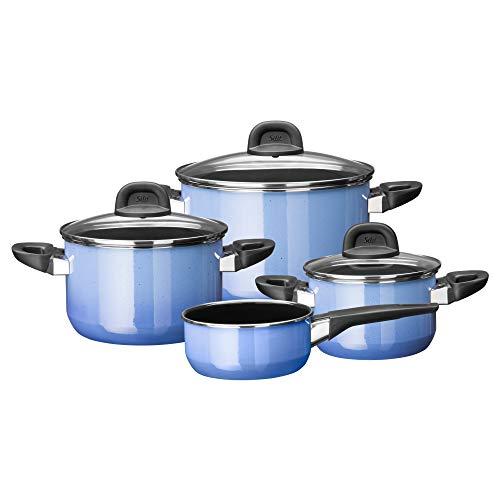 Silit Modesto Line Batterie de cuisine 4 pièces pour induction avec couvercle en verre Céramique fonctionnelle Silargan sans nickel Bleu