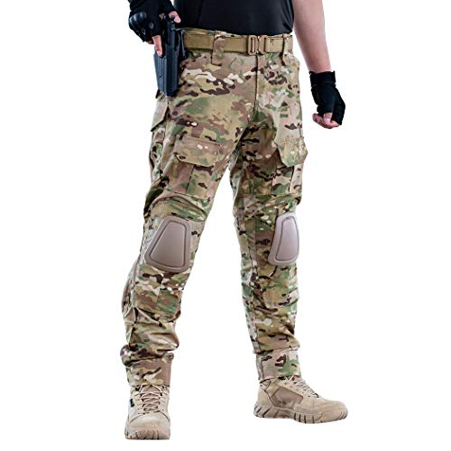 IDOGEAR G2 Combat Pants Multicam Men Pants with Knee Pads Airsoft Hunting Military Paintball Tactical Camo Trousers (Multicam, 32W/32L)