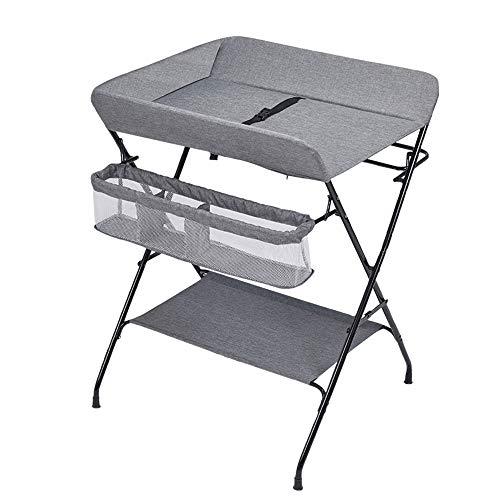 Babycommode en bad, vouwen luier Station Portable Verlichting 3 versnelling hoogteverstelling ruimte te besparen,Gray