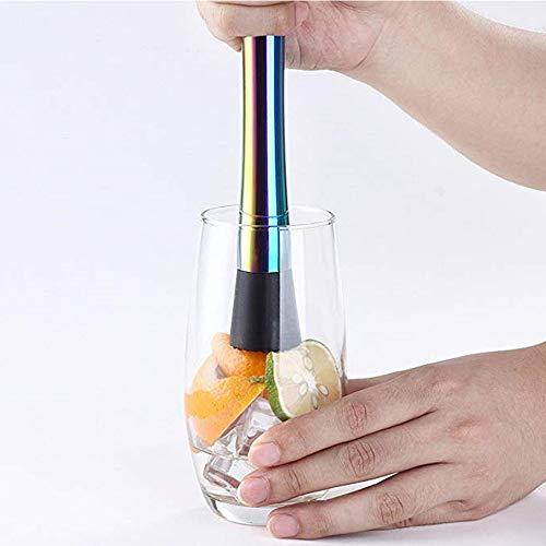 Xkfgcm Cocktailstößel Barstößel für Große Gläser Cocktail-Stößel aus Edelstahl Zerstößt Limetteneiswürfel Dank Rauer Unterseite Für Eisbrecherzubehör 2 Weinstößel Rutschfesten - 8