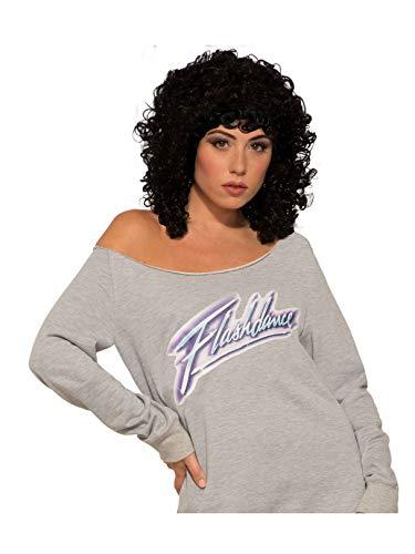 Forum Novelties Flashdance Alex Black Curly Wig Women's Costume Accessory, Multicolor