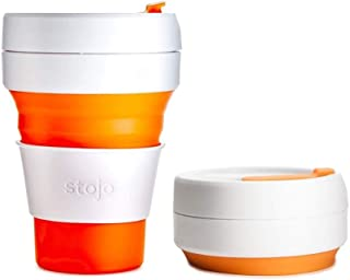 Stojo On The Go Coffee Cup | Pocket Size Collapsible Silicone Travel Cup – Orange, 12oz / 355ml