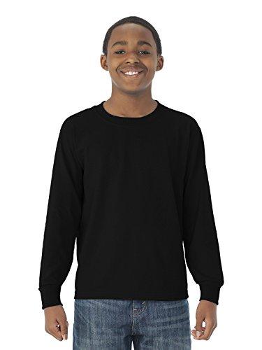 Jerzees Youth 5.6 oz. DRI-POWER ACTIVE Long-Sleeve T-Shirt S BLACK