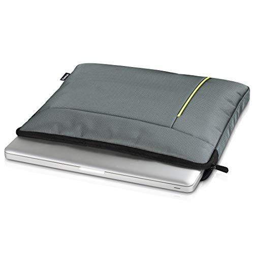 Hama Laptop-Hülle, für Notebooks bis 40cm/15,6 Zoll (Laptop-Sleeve mit Reißverschluss, Slim-Design, gepolstert) Laptop-Tasche, Schutzhülle grau/grün