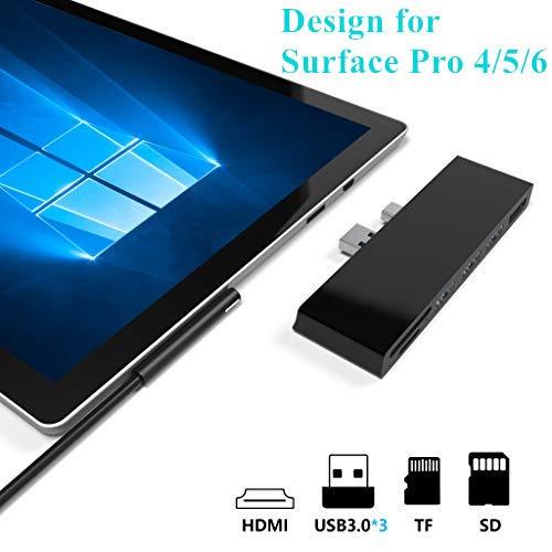 Cateck Microsoft Surface Pro 4/5/6 Docking Station mit 4K HDMI, 3 x USB 3.0 Ports, TF/SD-Kartenleser Konverter Combo-Adapter für Surface Pro 6 / Pro 5 / Pro 4