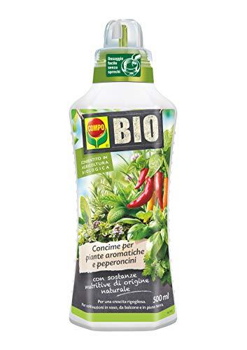 COMPO BIO Fertilizante líquido para plantas aromáticas y chiles, permitido en la agricultura ecológica, 500 ml