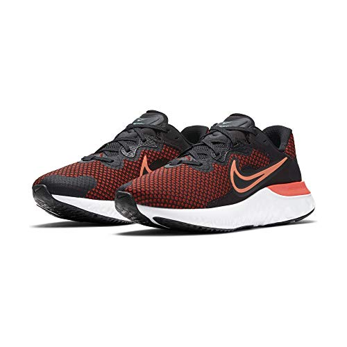 Nike Renew Run 2, Zapatillas para Correr Hombre, Black Hyper Crimson Chile Red Green Glow White Dk Smoke Grey, 40.5 EU