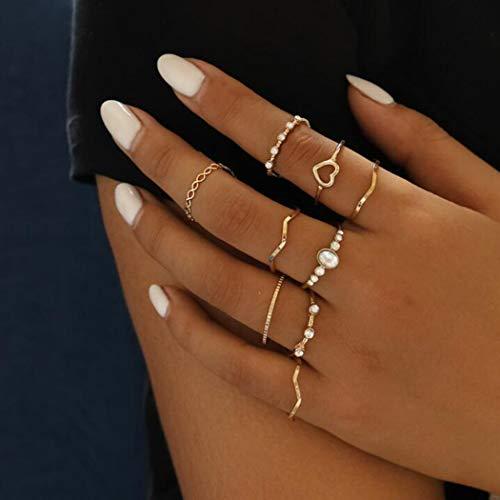 Aukmla Juego de anillos de nudillos bohemios apilables de corazón dorado, anillos de dedo tamaño midi para mujeres y niñas 9 piezas