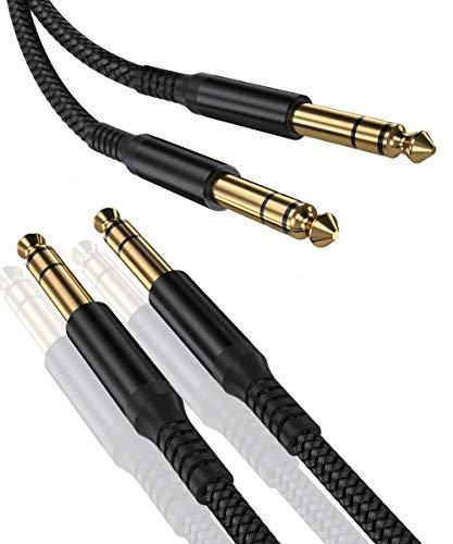 Cavo Audio Jack da 6.3 mm 3M [2-Pezzi],Cavo Nylon Stereo da 6.35mm a 6,35mm TRS Maschio,Cavi Jack Connettor da 1/4 bilanciato Cable per Strumenti,Chitarra Elettrica,Basso,Tastiera,Amplificatore,Amp