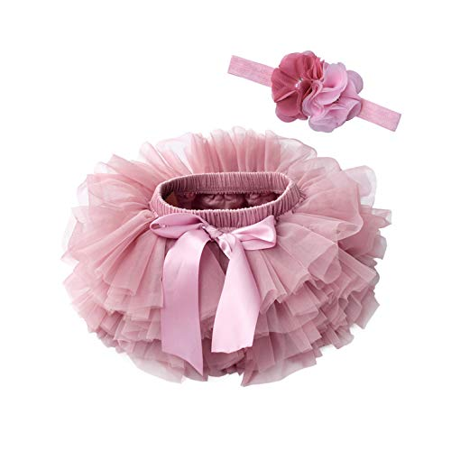 Robe Baby Girl Tutu Skirt 2Pcs Tulle Lace Bloomers Diaper Cover Newborn Infant Outfits Headband Flower Set Baby Mesh Bloomer-Beansand-24Months