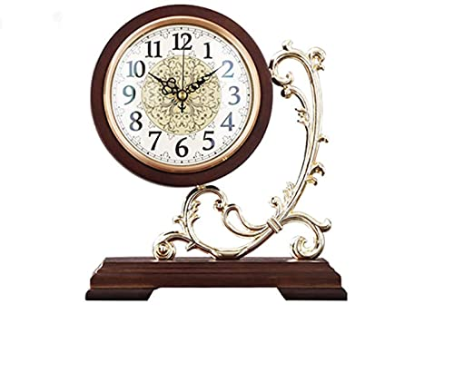 Gaojian Reloj De Mesa Vintage Relojes De Repisa Reloj De Escritorio Silencioso De Madera Que No Hace Tictac Analógico Europeo Retro Decoración De Escritorio, Relojes De Repisa