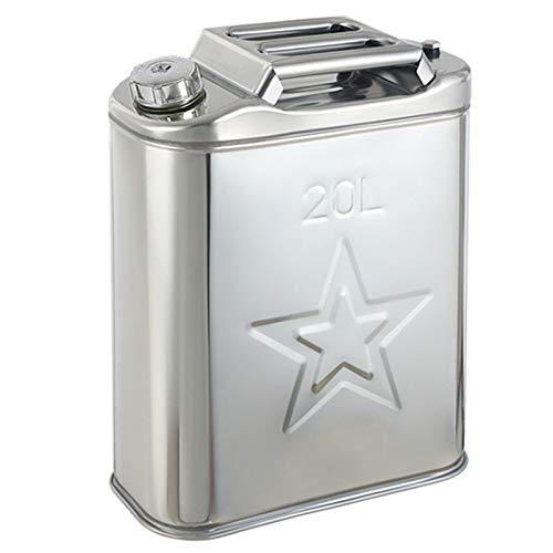 LHL-DD 20 Liter Metall-Kanister mit Ausguss, Benzinkanister für Motorrad, ATV, Auto, Edelstahl-Benzinkanister zur Lagerung von Kraftstoff, Benzin, Diesel, Öl