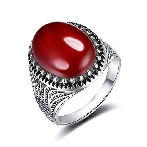 Wedding rings partner rings women's ring men's ring gentleman red oval agate wedding engagement wedding fashion best gift for women men red