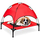 Kawuneeche Elevated Dog Bed with Removable Canopy w/Convenient Carrying Bag Indoor Shade 1680D Portable Raised Oxford Fabric Outdoor Cooling Dog Cot Cat Bed Pet Tent for Camping (30', Red)