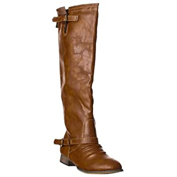 Breckelle s Women s OUTLAW-91 Buckle Riding Boots Tan 5.5