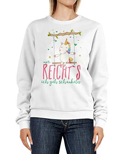 MoonWorks®Sweatshirt Damen Einhorn Unicorn Mir reichts ich GEH schaukeln Spruch Rundhals-Pullover Pulli Sweater weiß M