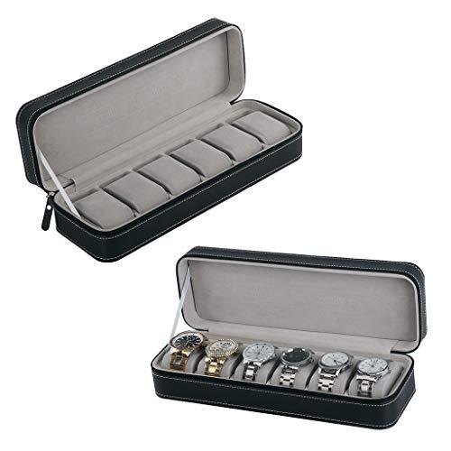 Fenteer 2 Stück Uhrenbox für 6 Uhren Uhrenkasten Schwarz PU-Leder mit Glasfenster - Uhren Kasten
