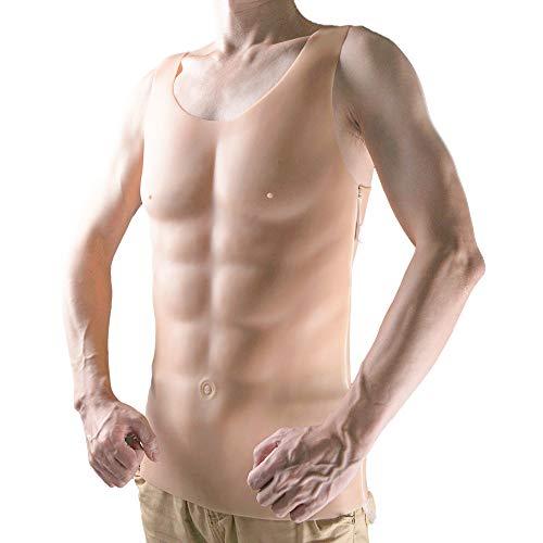 Puntelli Muscolari Finti del Torace Otto Muscoli Addominali Forma Muscolare del Silicone Falso Petto Muscolo Addominale Adulto Uomo Realistico Pelle Finta del Petto - Puntelli Cosplay,Color1,Zipper